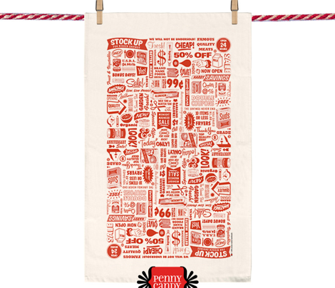 Stock Up! Tea Towel* (Tomato Soup) || text typography market grocery supermarket sale food cut and sew kitchen vintage retro