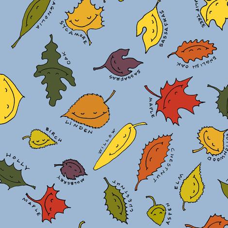 happy autumn leaves on blue fabric by weavingmajor on Spoonflower - custom fabric