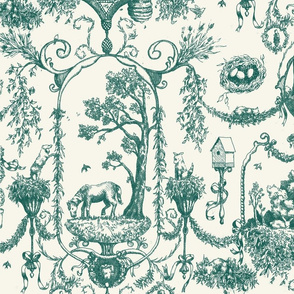 Toile Des Animaux - Teal