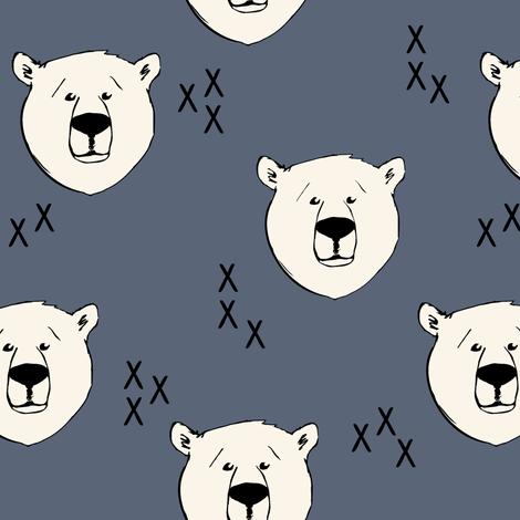 Polar Bear // dark blue fabric by littlearrowdesign on Spoonflower - custom fabric