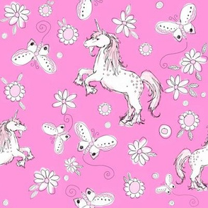 Unicorns and butterflies in pink