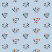 Meadow Floral 03 Teal Orange on Blue Grey