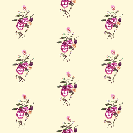 Pansy Purple on Cream fabric by thistleandfox on Spoonflower - custom fabric