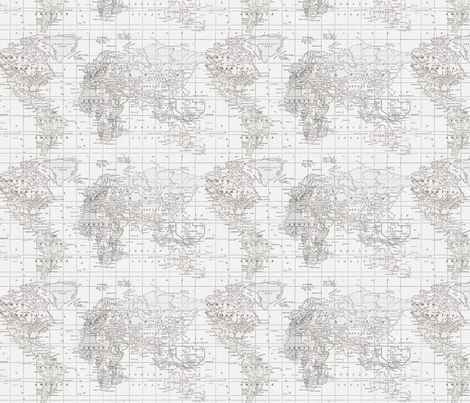 White on white map fabric by aftermyart on Spoonflower - custom fabric