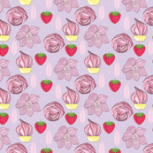 Pattern with flowers and strawberries