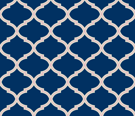 Lily Trellis In Navy And Blush Pink Fabric