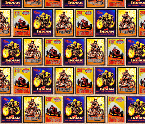 motorcycle posters fabric by marirose on Spoonflower - custom fabric