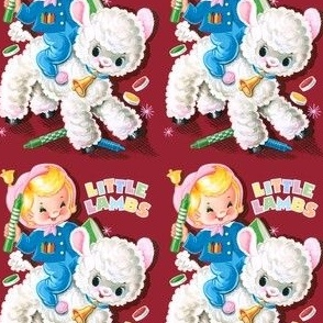 vintage kids retro kitsch boys toddlers children sheeps lambs crayons coloring books