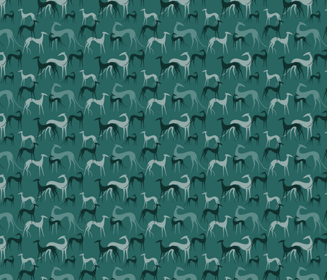 sighthounds emerald SMALL fabric by lobitos on Spoonflower - custom fabric