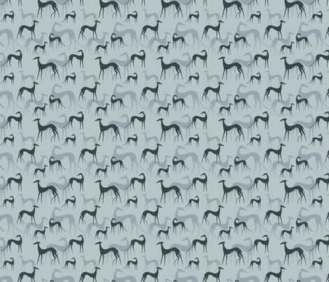 sighthounds blue SMALL fabric by lobitos on Spoonflower - custom fabric