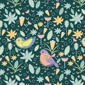Seamless pattern with leaves and birds