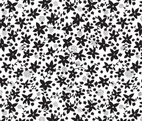 fleur 1 B+W fabric by jenniferpanepinto on Spoonflower - custom fabric
