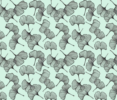 Ginkgo in Mint fabric by curious+fanciful on Spoonflower - custom fabric