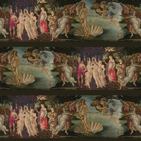 Botticelli Birth of Venus and Primavera With Stripes ~ Small fabric by peacoquettedesigns on Spoonflower - custom fabric