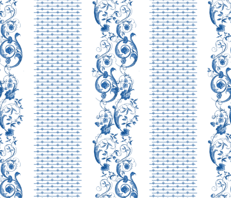 Wildfell Toile ~ Blue and White fabric by peacoquettedesigns on Spoonflower - custom fabric