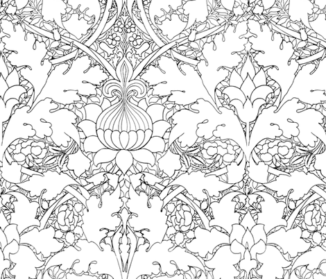 William Morris ~ Growing Damask ~ Black and White ~ COLOR YOUR OWN! fabric by peacoquettedesigns on Spoonflower - custom fabric