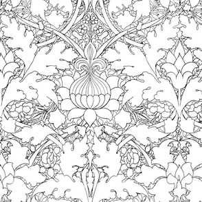 William Morris ~ Growing Damask ~ Black and White ~ COLOR YOUR OWN!