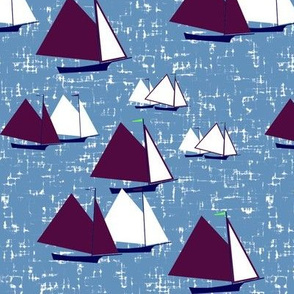 Racing gaff-rigged skiffs, purple on gray-blue