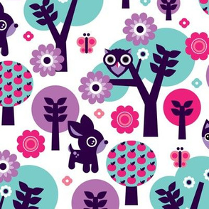 Woodland violet fox deer and owl pattern