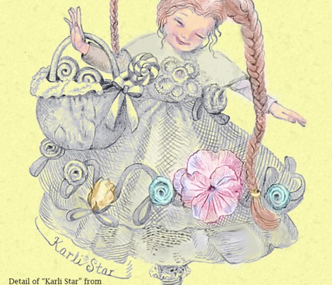 Itty-Bitty Blue on Buttercream Toile hand-drawn fairy tales