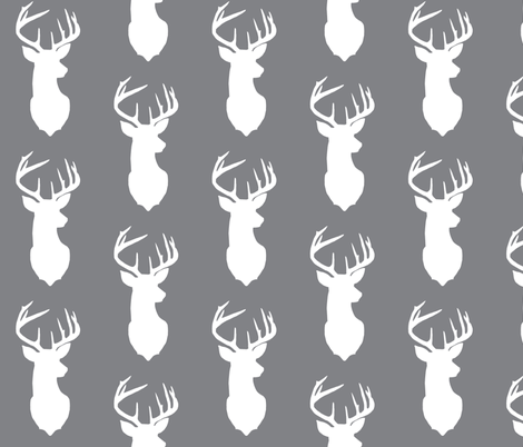 Deer Silhouette In Gray Background Fabric Todah
