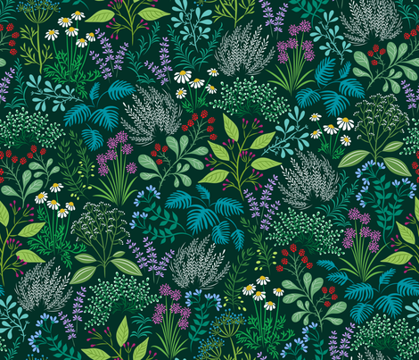 delightful herb garden fabric catalinakim Spoonflower