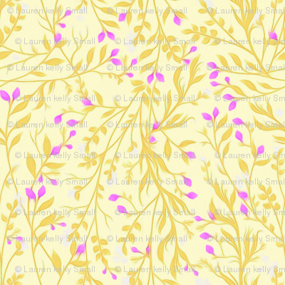 Tangled Gold and Magenta Garden