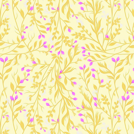 Tangled Gold and Magenta Garden fabric by thistleandfox on Spoonflower - custom fabric