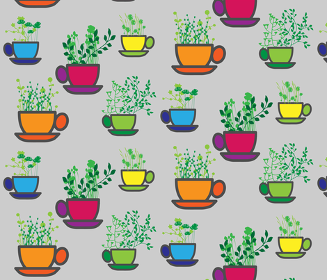 Mug Garden fabric by kfrogb on Spoonflower - custom fabric