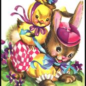 vintage retro kitsch chicks chickens rabbits bunnies bunny hats clowns gardens grass flowers easter Anthropomorphic