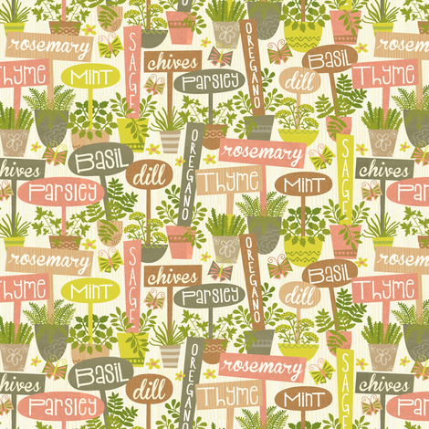 Herb Garden fabric by laura_mayes on Spoonflower - custom fabric