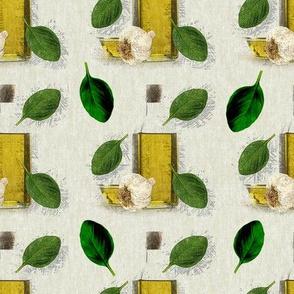 Rustic Herb Basil Leaf Garlic Olive Oil
