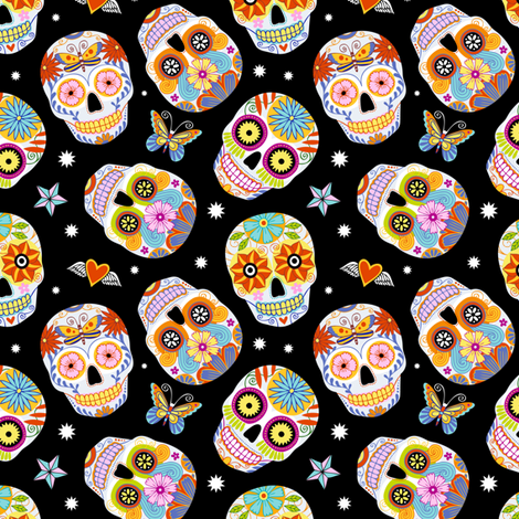 sugar skulls - black, small fabric by mirabelleprint on Spoonflower - custom fabric