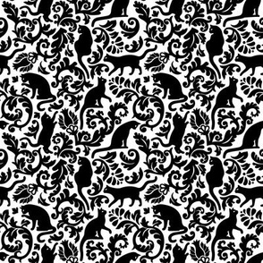 cats in the garden - black and white, mini