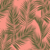 palm leaves - khaki on bright coral, small. silhuettes contour tropical forest hot summer palm plant tree leaves fabric wallpaper giftwrap
