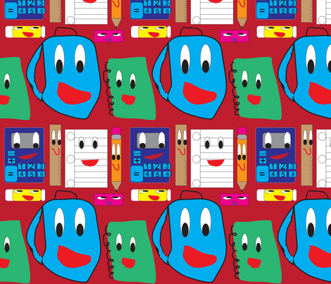 Backpack Takes his Friends to School fabric by ideaworks on Spoonflower - custom fabric