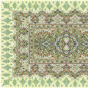 persian knot tea towel green