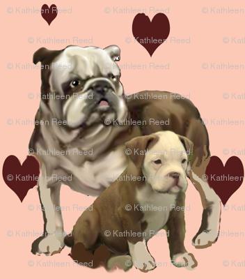 bulldog momma and baby