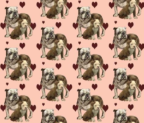 bulldog momma and baby fabric by dogdaze_ on Spoonflower - custom fabric