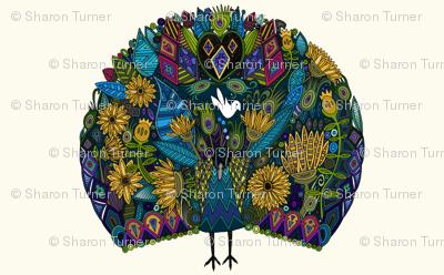 peacock garden fat quarter panel