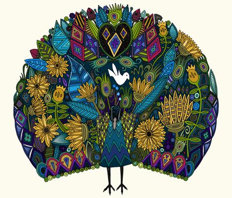 peacock garden fat quarter panel fabric by scrummy on Spoonflower - custom fabric