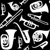 Jazz Print - White on Black
