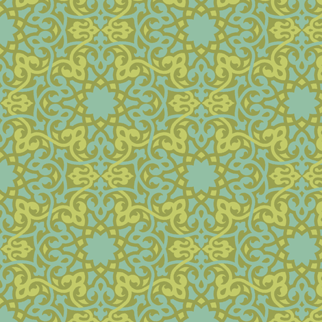 Cyngalese Arabesque blue-green fabric by wrapartist on Spoonflower - custom fabric