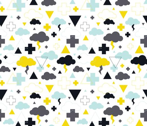 geometric pastel sleepy blue sky cloud geometric pattern fabric by littlesmilemakers on Spoonflower - custom fabric