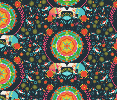 Dreaming of Mexico Dark fabric by zoe_ingram on Spoonflower - custom fabric