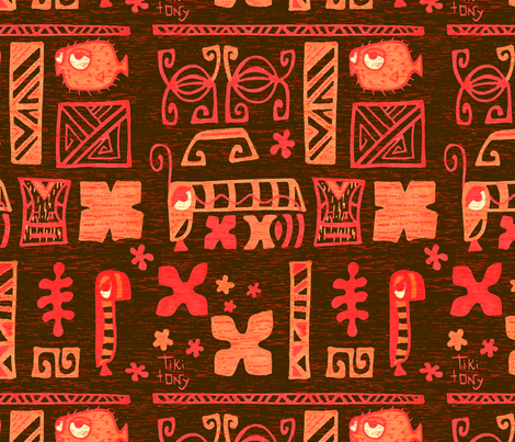 Tiki tOny Tapa Orange fabric by tikitony on Spoonflower - custom fabric