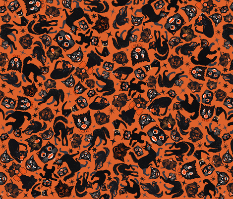 Halloween Cats  Orange  fabric by heidikenney on Spoonflower - custom fabric