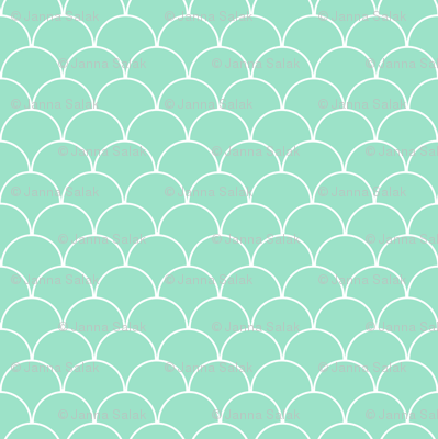 Mint and White Scallop Pattern