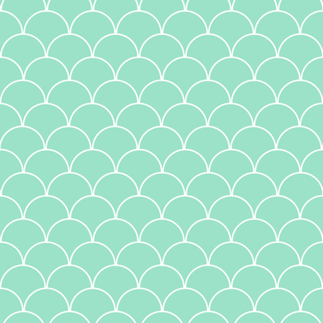 Mint and White Scallop Pattern  fabric by jannasalak on Spoonflower - custom fabric