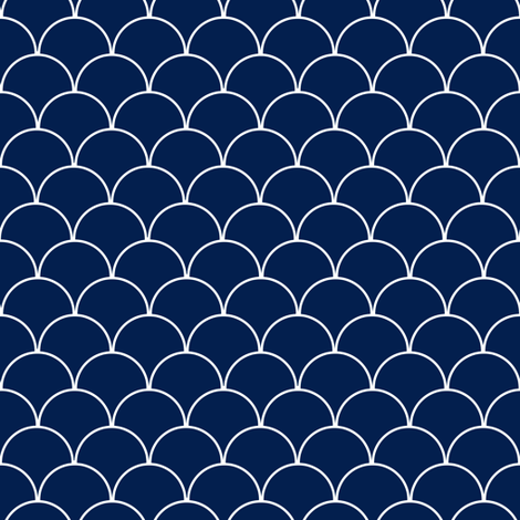 Navy Blue and White Scallop Pattern  fabric by jannasalak on Spoonflower - custom fabric